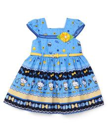 Eiora Kitty Print Casual Dress - Blue