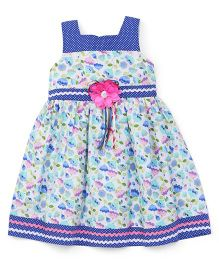 Eiora Sleeveless Casual Dress With Flower Attached - Blue