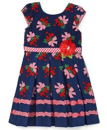 Eiora Flower Bouquet Printed Casual Dress - Navy Blue