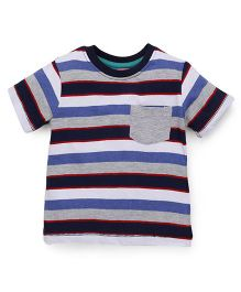 Babyhug Half Sleeves Stripe T-Shirt - Grey White Blue