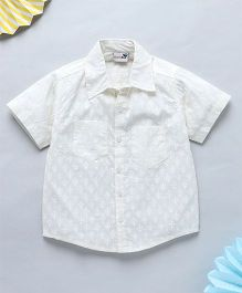 NeedyBee Printed Half Sleeves Summer Shirt - White