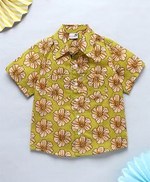 NeedyBee Beach Shirt With Floral Prints - Green
