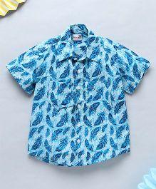 NeedyBee Floral Printed Half Sleeves Summer Shirt - Blue