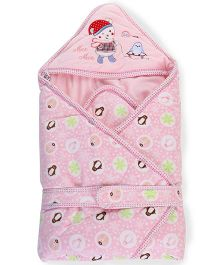 Mee Mee Hooded Blanket Penguin Embroidery - Pink