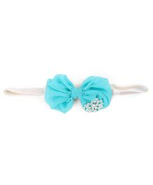 Funkrafts Bow Headband With Pearls Attached - Turquoise