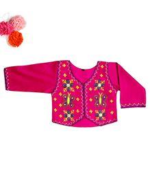 BunChi Stylish Embroidered Jacket - Pink