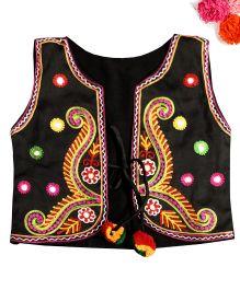 BunChi Embroidered Pom Pom Jacket - Black