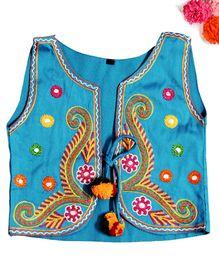 BunChi Hand Embroidered Pom Pom Jacket - Blue