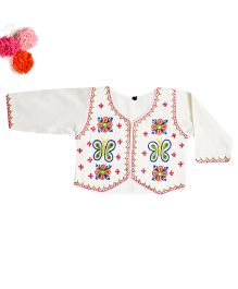 BunChi Stylish Embroidered Jacket - White