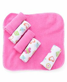 Mothers Choice Hand & Face Towels Pack Of 6 - White And Pink