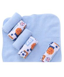 Mothers Choice Hand & Face Towels Pack Of 6 - White And Blue