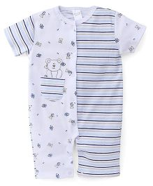Mothers Choice Rompers Teddy Print With Stripes - White