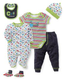 Mothers Choice Multi Piece Onesies Sets - Green And Black