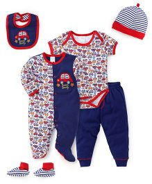 Mothers Choice Multi Piece Onesies Sets - Red And Blue