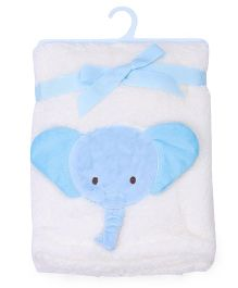 Mothers Choice Blanket With Elephant Patch - White And Blue