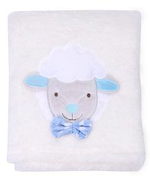 Mothers Choice Blanket With Sheep Patch - White And Blue