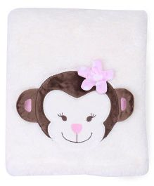Mothers Choice Blanket With Monkey Patch - White And Brown