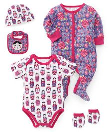 Mothers Choice Infant Multipiece Clothing Pack of 5 - White Pink Purple