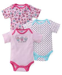 Mothers Choice Onesies Pack Of 3 - Pink And White