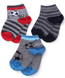 Mustang Socks Pack Of 3 - Grey Blue Red
