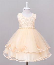 Wonderland Cut Work Layered Dress - Champagne