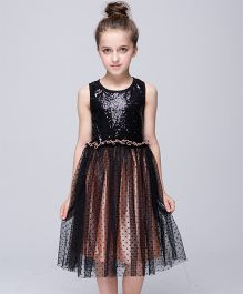 Wonderland Sequined Dress With Polka Dots - Black