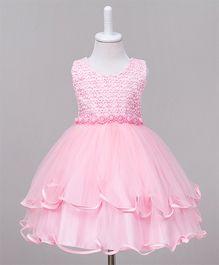 Wonderland Cut Work Layered Dress - Pink