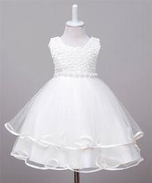 Wonderland Cut Work Layered Dress - White