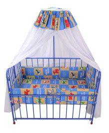 Mothertouch Baby Cot DX Multi Print - Blue