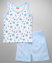 Babyhug Sleeveless Top And Shorts Butterfly & Floral Print - White Blue