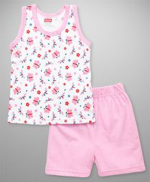 Babyhug Sleeveless Top And Shorts Butterfly & Floral Print - White Pink