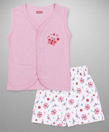Babyhug Sleeveless Vest & Shorts Set Butterfly Print - Pink White