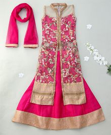 Enfance Patch Work Kurta & Solid Lehenga With Dupatta - Gold & Rani