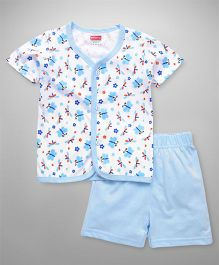 Babyhug Half Sleeves Night Wear Butterfly Print - Blue