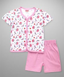 Babyhug Half Sleeves Night Wear Butterfly Print - Pink