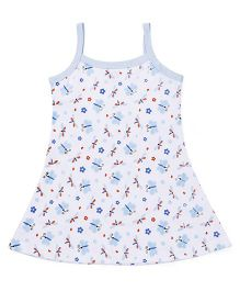 Babyhug Singlet Frock Floral And Butterfly Print - White Light Blue