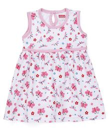 Babyhug Sleeveless Frock Allover Floral & Butterfly Print - Pink