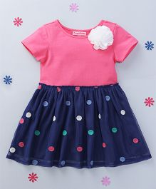 CrayonFlakes Polka Dot Printed Dress With Flower Attached - Pink & Navy Blue