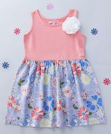 CrayonFlakes Polka Dot & Flower Printed Dress - Peach & Grey