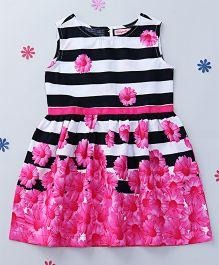 CrayonFlakes Stripes & Flowers Printed Dress - Navy Blue White & Pink
