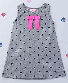 CrayonFlakes Heart Printed Dress - Grey