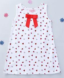 CrayonFlakes Hearts Printed Dress - White