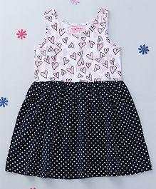 CrayonFlakes Hearts & Polka Dot Printed Dress - White & Navy Blue