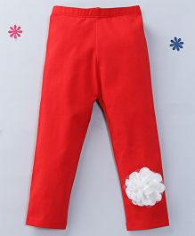 CrayonFlakes Trendy Leggings With Flower Attached - Red