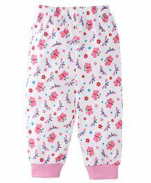 Babyhug Leggings Butterfly Print - White Pink