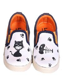 Brush Strokes Canvas Shoes Cat And Fish Design - Black White