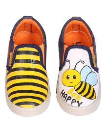 Brush Strokes Canvas Shoes - Black Yellow White