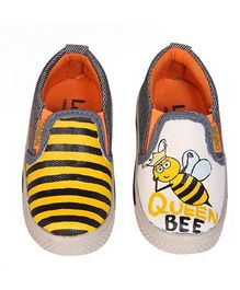 Brush Strokes Canvas Shoes Honey Bee Design - White Yellow Black