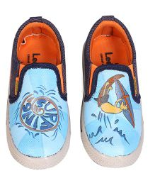 Brush Strokes Canvas Shoes Surfing Design - Blue White