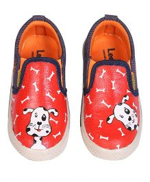 Brush Strokes Canvas Shoes - Red White